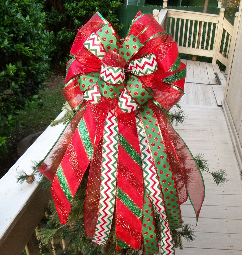 christmas bow tree topper bow topper wreath bows by. Black Bedroom Furniture Sets. Home Design Ideas
