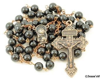 Indulgence Pardon Rosary Black Onyx Copper Traditional Catholic