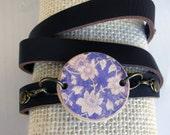 Gypsy Girl Boho Wrap Vegan Lavender Leather Bracelet