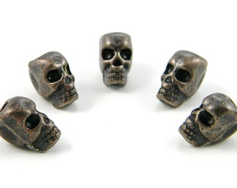 Copper Alloy Skull Beads For Paracord Bracelets, Lanyards, Leather & Other Projects (Vertical Hole)