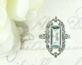 Beautiful marcasite ring with rectangular paste aquamarine Sterling Silver || МАРКАЗИТ