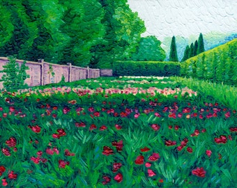 Peony Garden, 6 x 12 in., giclee print