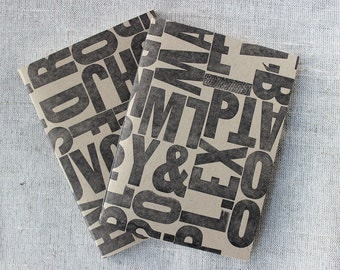 Wood Type Collage Letterpressed, Hand-bound Notebook