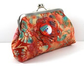 SALE Clutch with Orange, Teal and Yellow with a Flower Button
