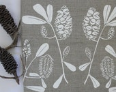Linen Tea Towel Screen Printed Linen Tea Towel Hand Printed  White&Natural Australian Banksia