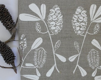 Linen Tea Towel Screen Printed Linen Tea Towel Hand Printed  White&Natural Australian Banksia