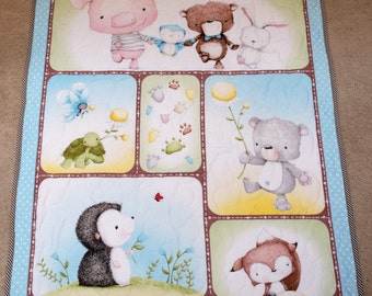 "Baby Quilt - Baby Animals with Bright Yellow Dimple Minky, 32"" X 40"""
