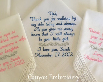 Wedding Handkerchief, Embroidered Wedding Handkerchiefs, Wedding Gifts, Wedding, by Canyon Embroidery