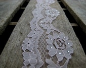 """Delicate Light Pink Lace Trim with Rhinestone Embellishment -Scallop Edge  - 4 Yards - 1 3/4"""" Width"""