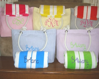 Wholesale Priced Beach Bag and Beach Towel with Embroidery for Bridesmaids Gifts, Bridesmaid Gift, Personalized Tote