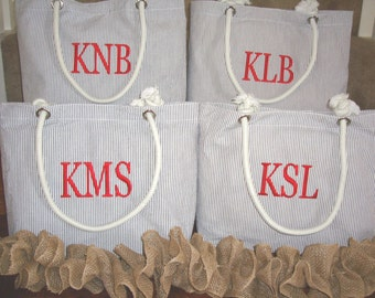 Personalized Bridesmaid Gift **SALE** Monogrammed Bridesmaid Tote or Beach Bag in Gray Seersucker or Chevron Embroidered Bridesmaids Gifts