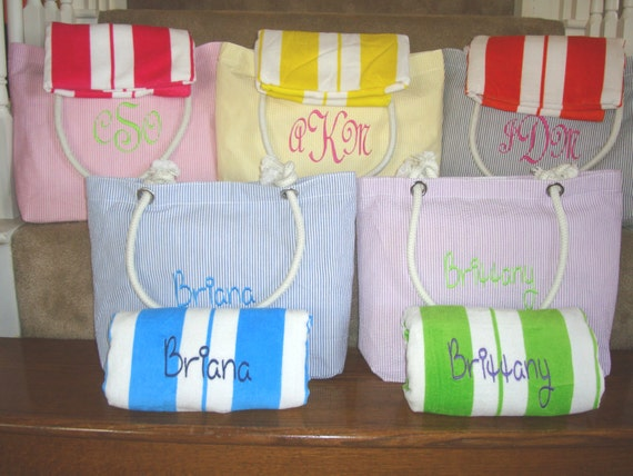 Wholesale Priced Beach Bag and Beach Towel with Embroidery for