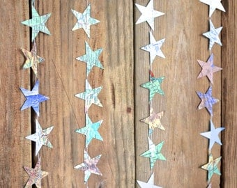 Map Stars Garland - made from vintage maps and atlases, 10 feet long