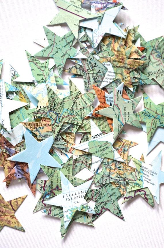 Vintage Atlas Paper Star Confetti