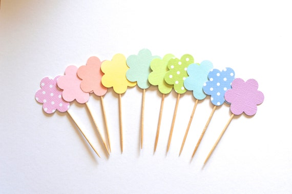 Flower Cupcake Toppers, 12 blooming picks in pastels and polka dots