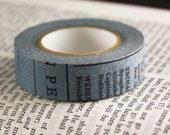 Classiky Japanese Washi Tape - Slate Blue masking tape with Old Book Page design - scrapbooking masking tape, wedding washi