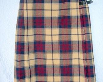 Vintage Glenisla Kilt-Maroon/Black/Tan Plaid-Size 12-Wool-Made in Scotland