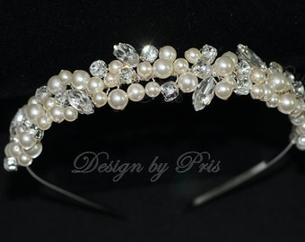 SALE Wedding Bridal Headband  Bridal Swarovski Cream Pearls and Rhinestones Headpiece - Wedding Swarovski Pearls Rhinestones Headband