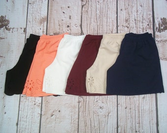Cut-Out Petal Shorts - 6 colors available - Black White Cream Navy Peach Maroon