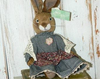 "Russ Plus Bunny Rabbit - 11"" Stuffed Plush - Vintage With Dress And Shawl"