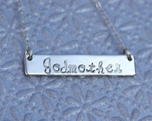 Godmother Bar Necklace/Godmother Gift/Trendy/Chick/18g Thick/Back Engraveble