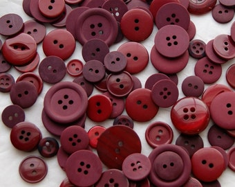 50 Cranberry,  Bing Cherry Red Buttons, Wine Red, Burgundy Crafting, Jewelry, Collect (1625)