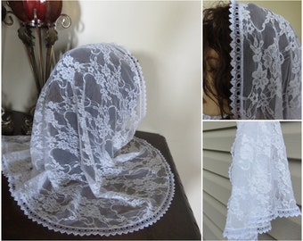 White Large Chantilly Chapel Church Veil - Half Circle Mantilla - Prayer Head Covering