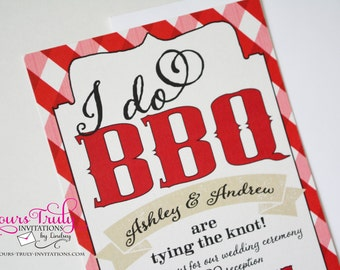 Sample - I Do BBQ Red and White Gingham Check -Wedding, Engagement Party or Rehearsal Party  Invitation