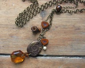 Boho Chic Brown Crystal Pendant, Repurposed Vintage Chandelier Crystal Necklace, Upcycled Jewelry, Long Trendy Necklace, Bijoux Bohème,