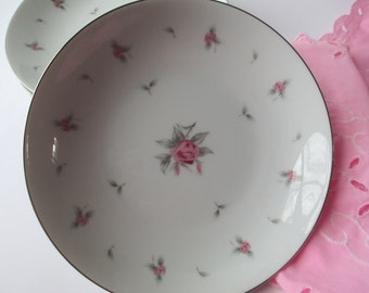 Vintage Meito Pink Rose Soup Bowls Set of Four