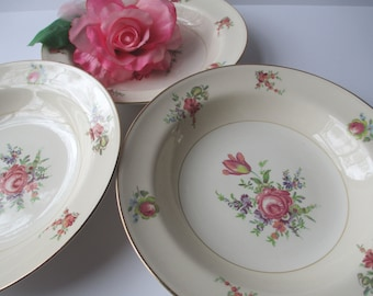 Vintage Homer Laughlin Priscilla Pink Floral Soup Bowls Set of Three