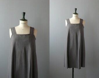 Vintage grey wool dress. 1960s dress. maternity dress