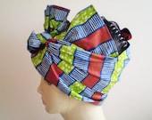 Small African Head Scarf, Stripe African Head Wrap, Blue Green Brown Fuchsia African Head Wrap, African Head Scarf