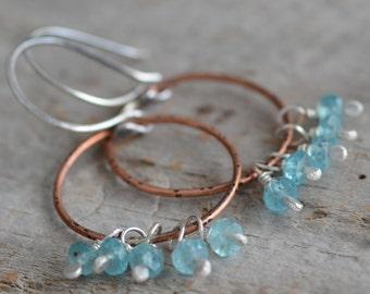 SALE Copper Hoop Earrings Mixed Metal Sterling Silver Bohemian Style Artisan Gemstone Cluster Earrings Blue Apatite Gemstone Jewelry