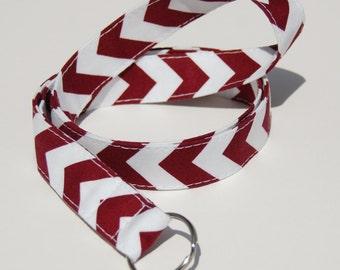 Maroon & White School Spirit Chevron - Lanyard ID Badge Holder - Key Strap