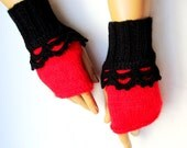 Hand Knit Black And Red Gloves Mitten Half Finger Armwarmer, Fall Fashion, Winter Accessories, Women Fingerless, Lace Black Red Mtten