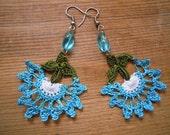 crochet earrings, turquoise, white, green