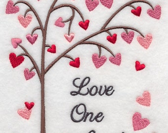 Flour Sack Towel / Quilt Block embroidered with Love One Another design