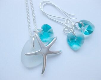 SEA GLASS  Starfish SS Wedding set of 3 seaglass jewelry beach theme wedding Starfish Jewelry Handmade, Custom Jewelry
