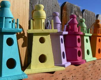 Lighthouse wood Birdhouse, Shabby Chic, choice of colors; lilac, turquoise, lime, yellow, fuchsia and orange
