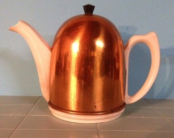 English Ceramic Tea  Pot with Copper Thermal Cozy Cover