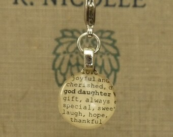 God Daughter  Dictionary Word Clip-on Charm Goddaughter Antique Vintage Look Gift by Kristin Victoria Designs