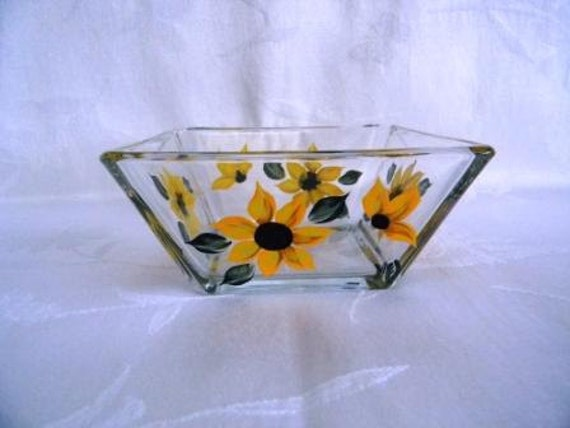 Bowl-painted Bowl-painted dip bowl-painted Sunflowers