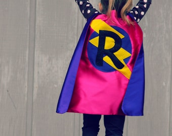 GIRLS CUSTOMIZED SUPERHERO Cape - Lots of color combinations to choose from - Girl birthday gift - Superhero Costume