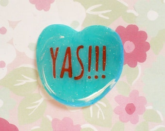 Conversation Brooch, yas, Valentine heart, feminist brooch, tumblr, 90's fashion, 90's style, dope Badge