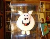 Happy Pig Suncatcher or Windchime in Fused Glass