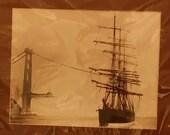 Vintage photo San Francisco sail boat and Golden Gate bridge under construction