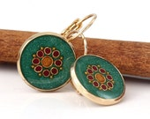 Green earring , Gold round earrings ,   forest green ,   gold plated brass nickel free ,