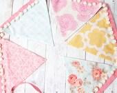 Maylee wild flower inspired banner buntingbanner with pom pom trim