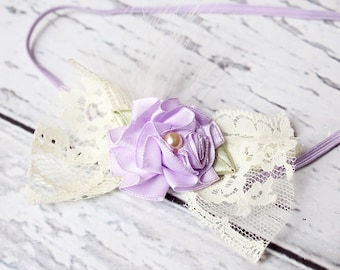 Little Cheep- pleated flower and lace with feather halo newborn headband